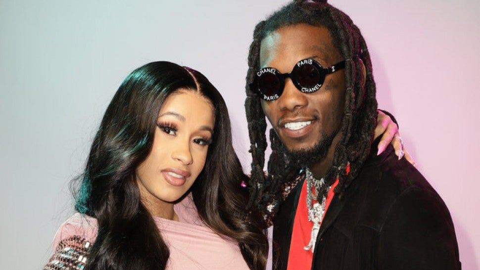 Cardi B's Baby Bump Gets Kisses From Fiance Offset At