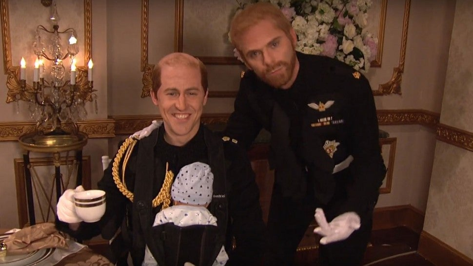 Alex Moffat And Mikey Day As Prince William Harry On Saay Night Live Nbc While Meghan Markle S Royal Wedding Reception