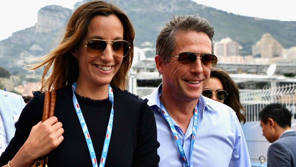 Hugh Grant and New Wife Anna Eberstein at Monaco Grand Prix on May 27.