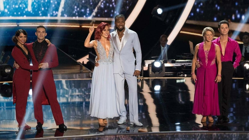 Adam Rippon, Jenna Johnson, Sharna Burgess, Josh Norman, Tonya Harding and Sasha Farber on DWTS Finale