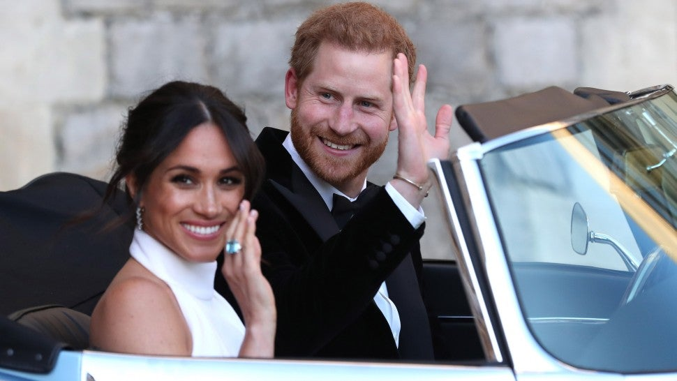b2b78359fca Meghan Markle Changes Into Reception Dress -- and Something Blue ...