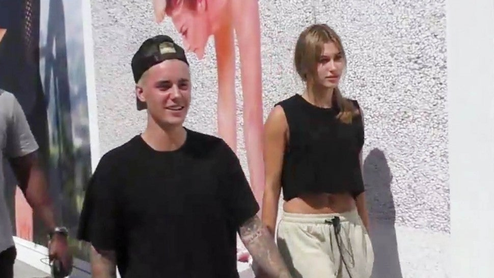 Justin Bieber and Hailey Baldwin are seen on October 7, 2015 in Los Angeles.