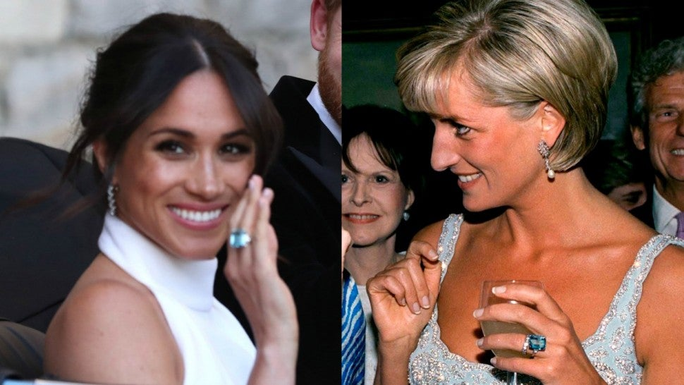 prince harry gifts princess diana s stunning aquamarine ring to meghan markle on royal wedding day entertainment tonight to meghan markle on royal wedding day