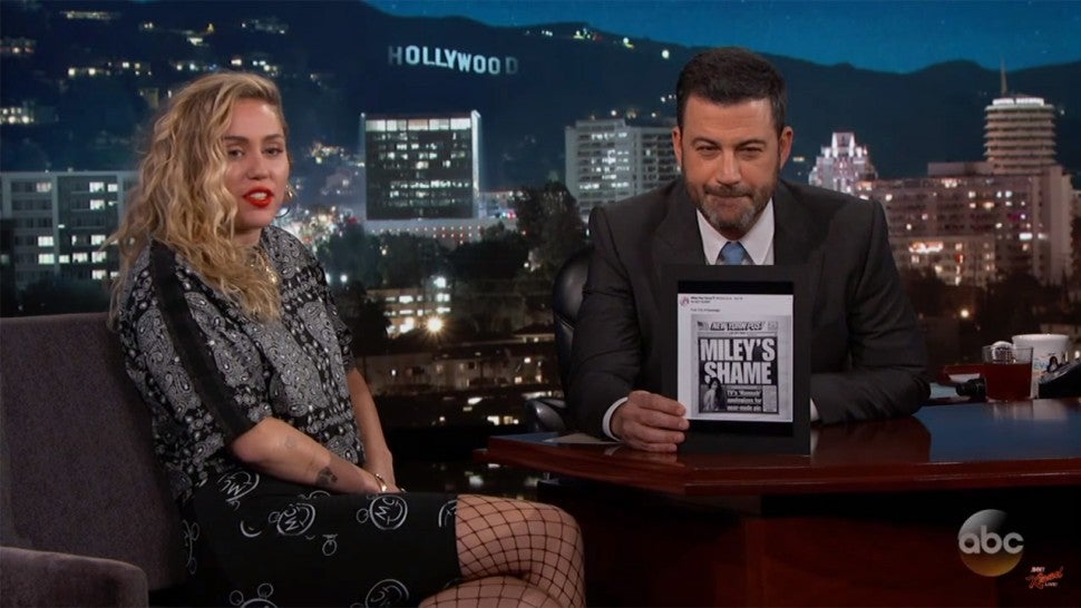 Miley Cyrus and Jimmy Kimmel