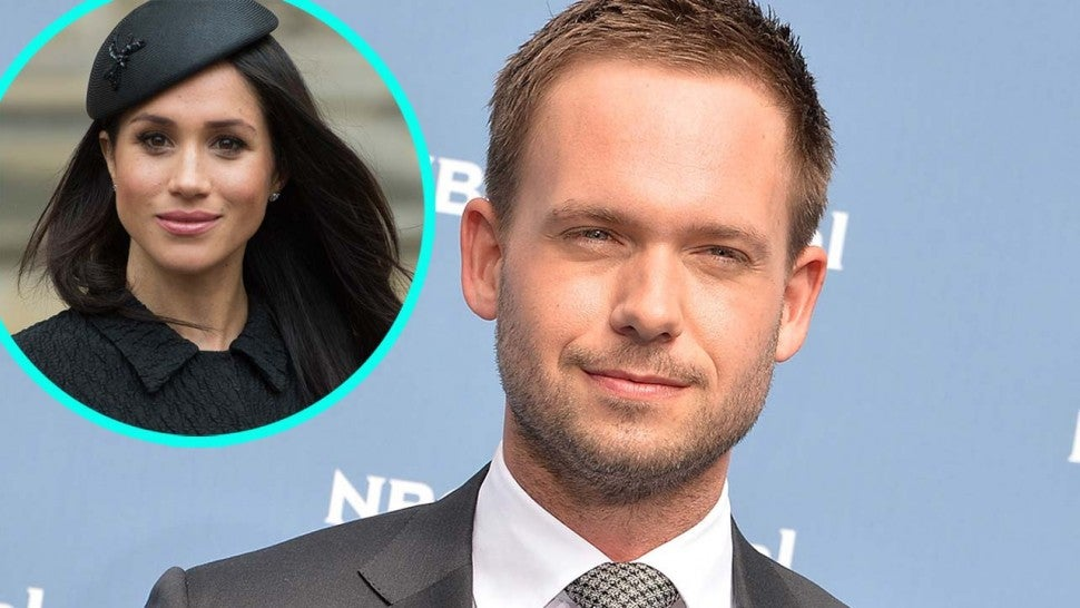 Patrick J. Adams and 'Suits' co-star Meghan Markle (inset)