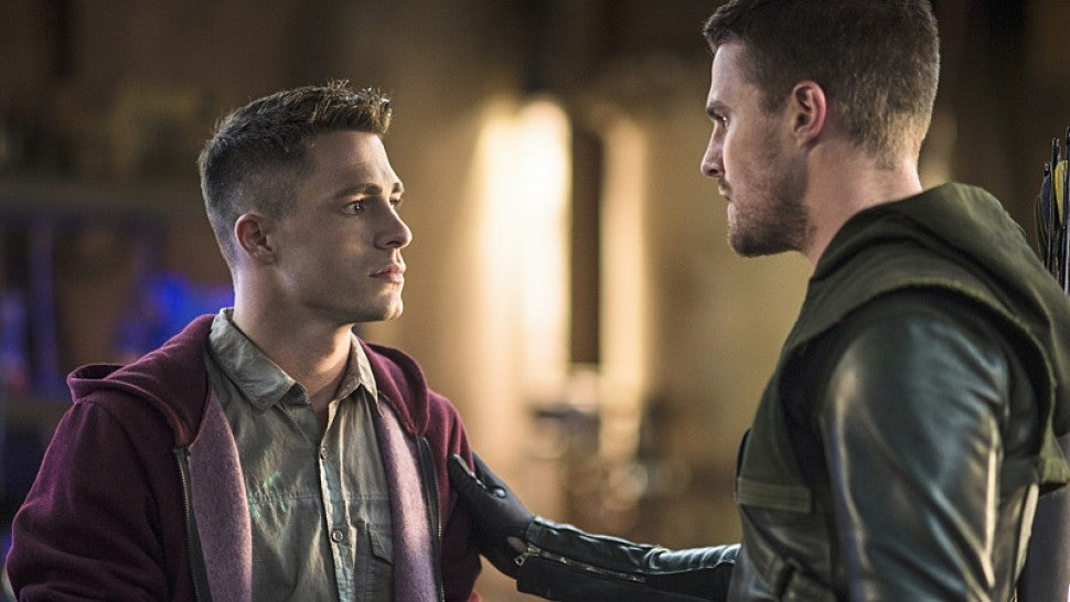 Colton Haynes and Stephen Amell on Arrow