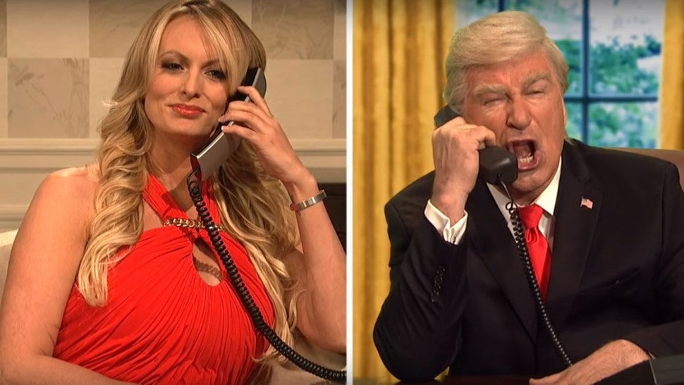 Stormy Daniels and Alec Baldwin as Donald Trump in 'SNL' Cold Open