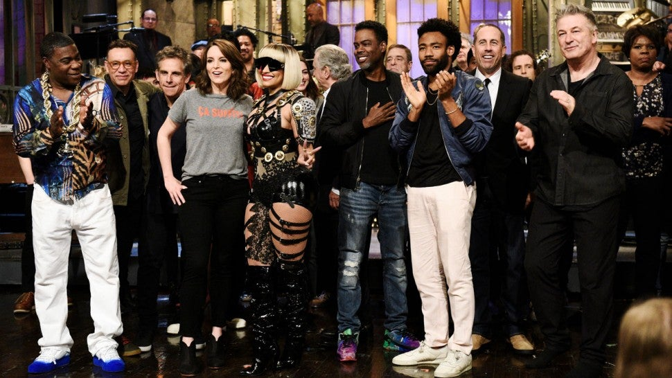 Tina Fey and guest stars during 'Saturday Night Live' Goodbyes during Season 43 finale