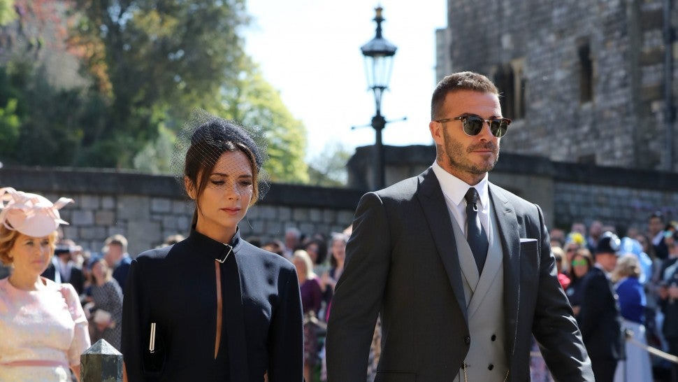 Victoria and David Beckham arrive at Prince Harry and Meghan Markle's Wedding
