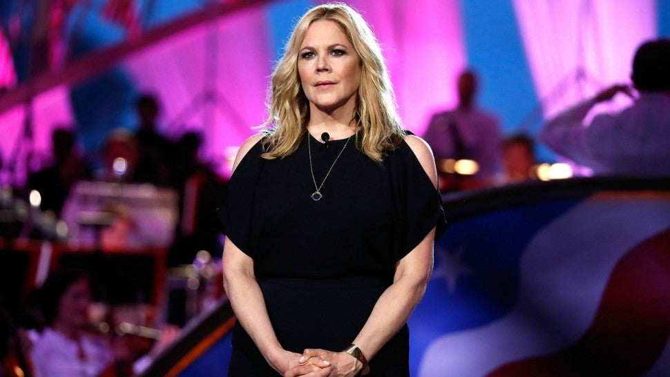 Mary McCormack tells the story of Silver Star recipient Leigh Ann Hester, the 1st woman to receive the Silver Star for combat., at the 2018 National Memorial Day Concert at U.S. Capitol, West Lawn on May 27, 2018 in Washington, DC.