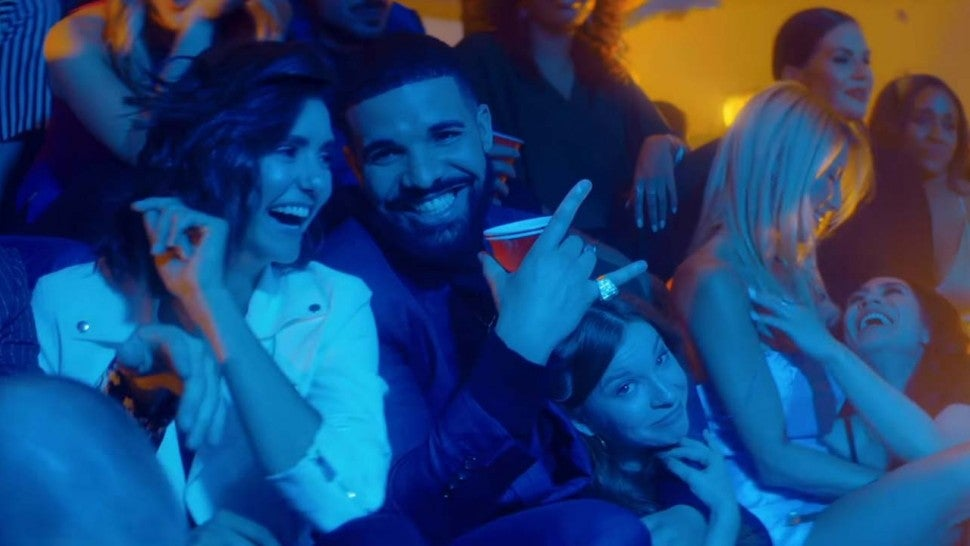 Drake and Nina Dobrev in the music video for 'I'm Upset'