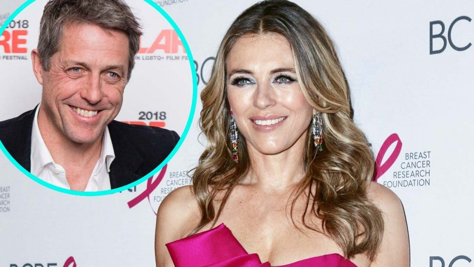 Elizabeth Hurley and her friend and ex-boyfriend Hugh Grant (inset)