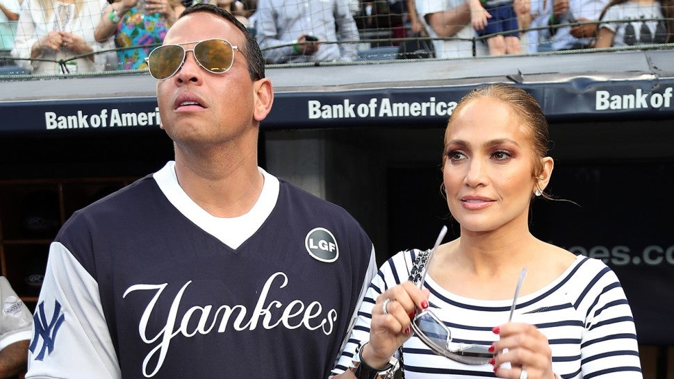 Jennifer Lopez and Alex Rodriguez at softball game