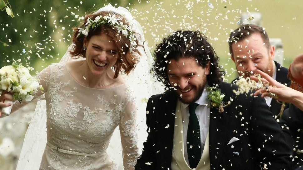 Kit Harington & Rose Leslie Leave Wedding in 'Just Married' Car!