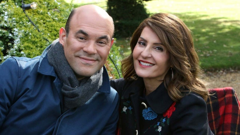 Nia Vardalos and husband Ian Gomez on the set of 'The Great American Baking Show'