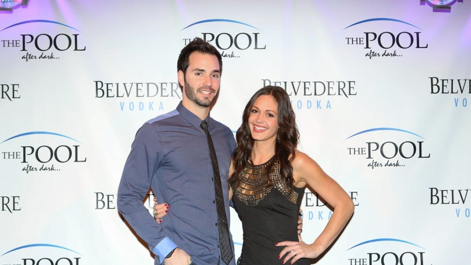 Desiree Hartsock and Chris Siegfried from 'The Bachelorette' hosts The Pool After Dark at Harrah's Resort on Saturday January 4, 2014 in Atlantic City, New Jersey.