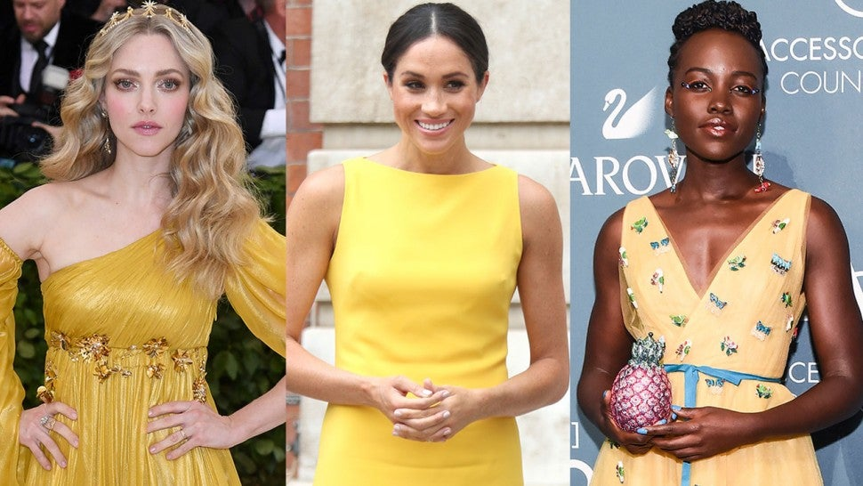 how to wear yellow for different skin tones Amanda Seyfried Meghan Markle Lupita Nyong'o