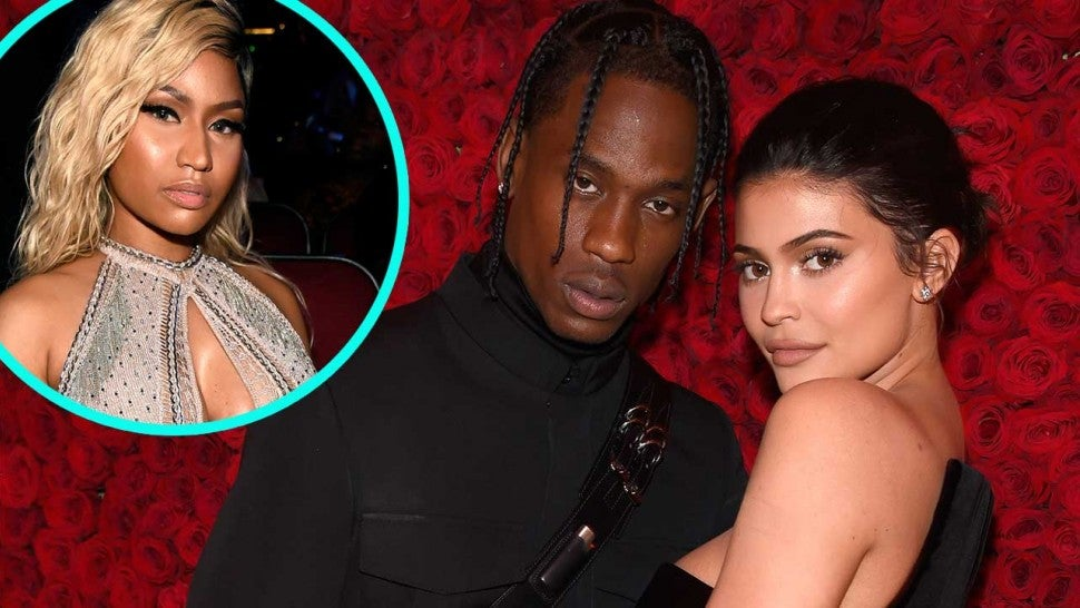 Travis Scott and Kylie Jenner with Nicki Minaj (inset)