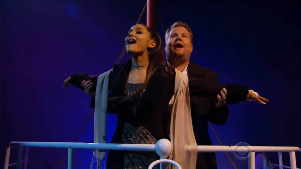 Watch Ariana Grande And James Corden Make Titanic Into A Musical