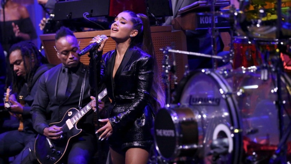 """Image result for Ariana Grande and The Roots Perform """"Natural Woman"""" in Tribute to Aretha Franklin"""