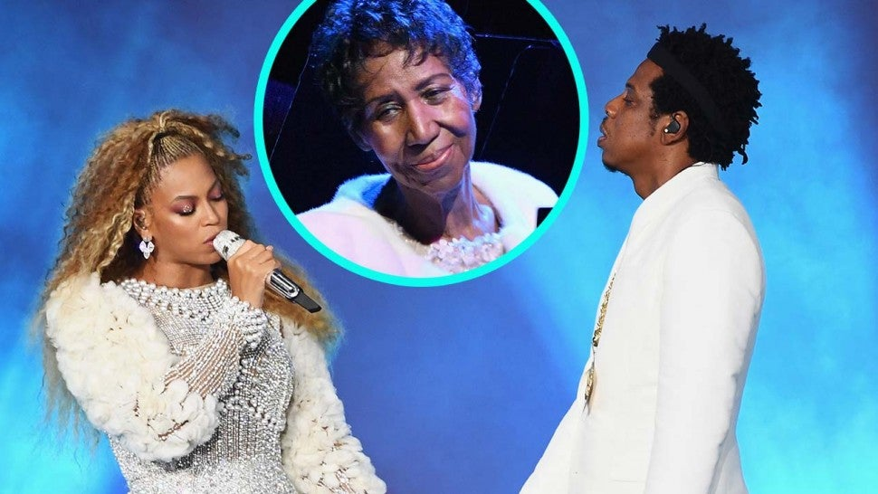 Beyonce and JAY-Z on their 'On The Run II Tour' with Aretha Franklin (inset)