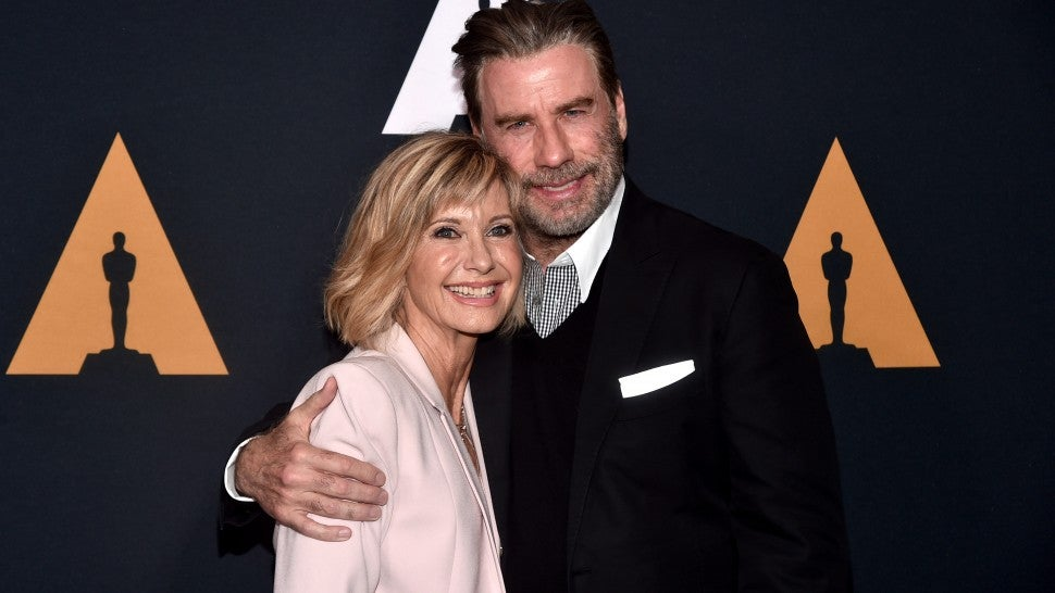 John travolta and olivia newton john reunite at grease 40th john travolta and olivia newton john m4hsunfo