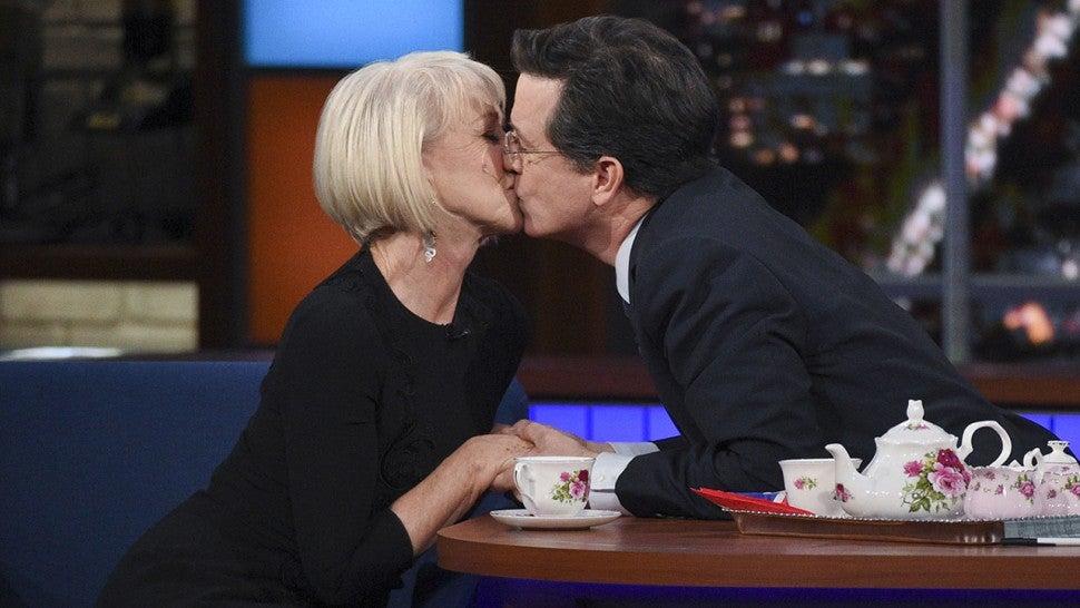 Stephen Colbert Recalls Kissing Helen Mirren Sally Field And Andrew