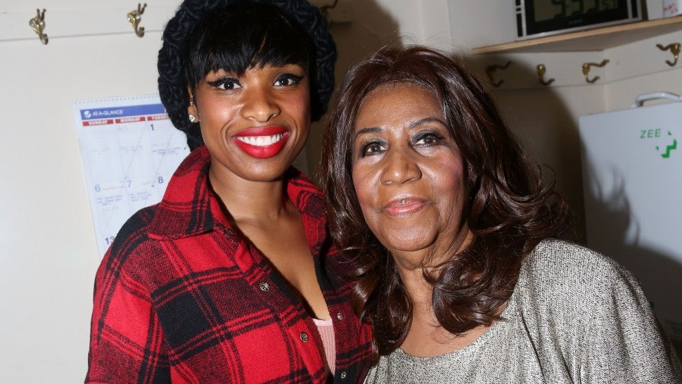 Jennifer Hudson and Aretha Franklin pose backstage at the hit musical 'The Color Purple' on Broadway at The Jacobs Theater on December 15, 2015 in New York City.