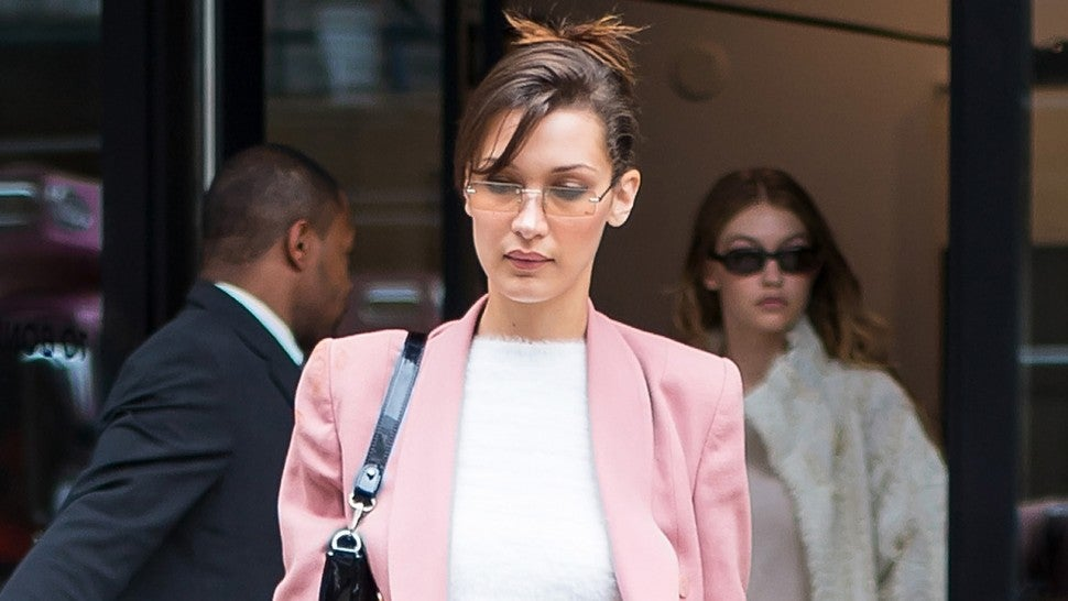 Bella Hadid in pink skirt suit 1280