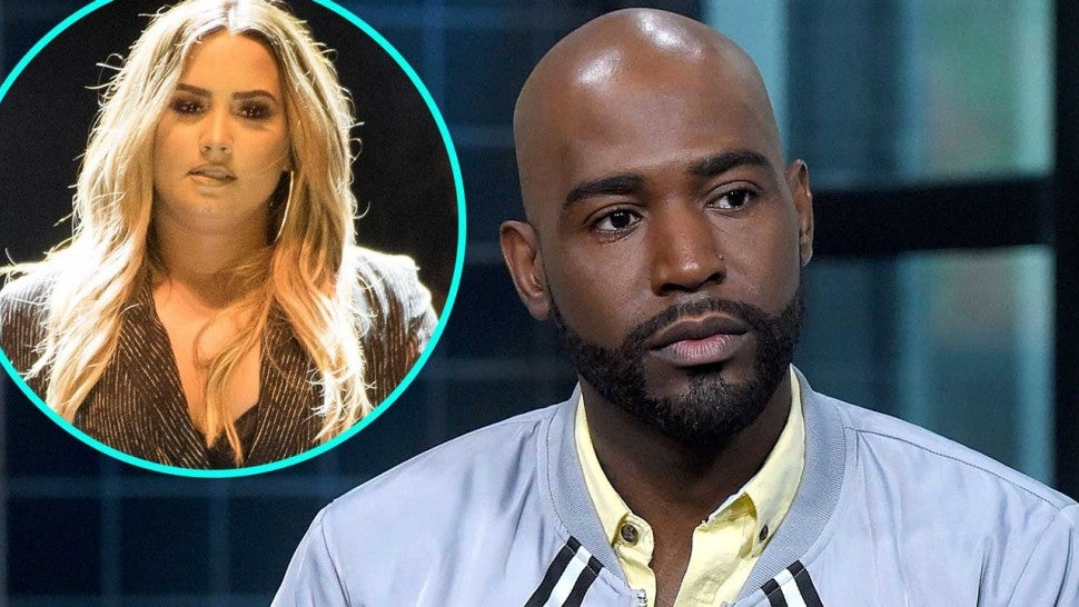 'Queer Eye' star Karamo Brown with Demi Lovato (inset)