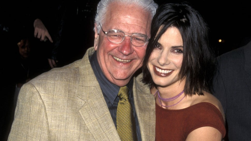 Sandra Bullock and father John Bullock attend the 'Forces of Nature' Westwood Premiere on March 12, 1999 at Mann Village Theatre in Westwood, California.