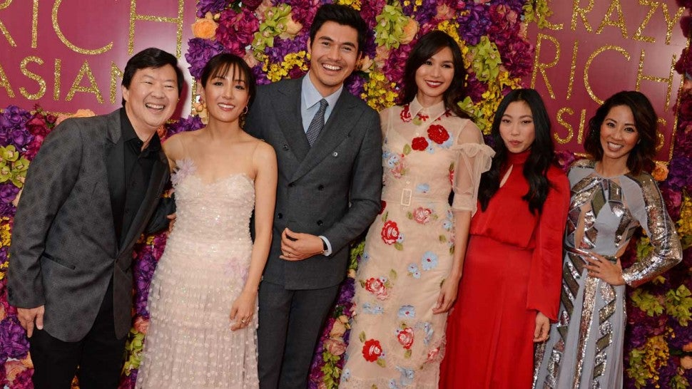 Ken Jeong, Constance Wu, Henry Golding, Gemma Chan, Awkwafina and Jing Lusi of 'Crazy Rich Asians'