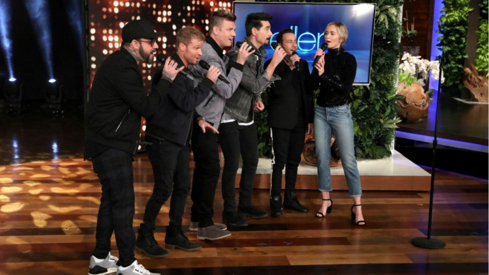 Emily Blunt and the Backstreet Boys