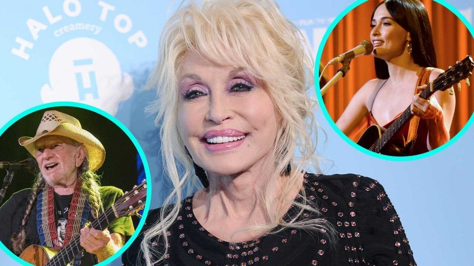 Dolly Parton with Willie Nelson (inset right) and Kacey Musgraves (inset left).
