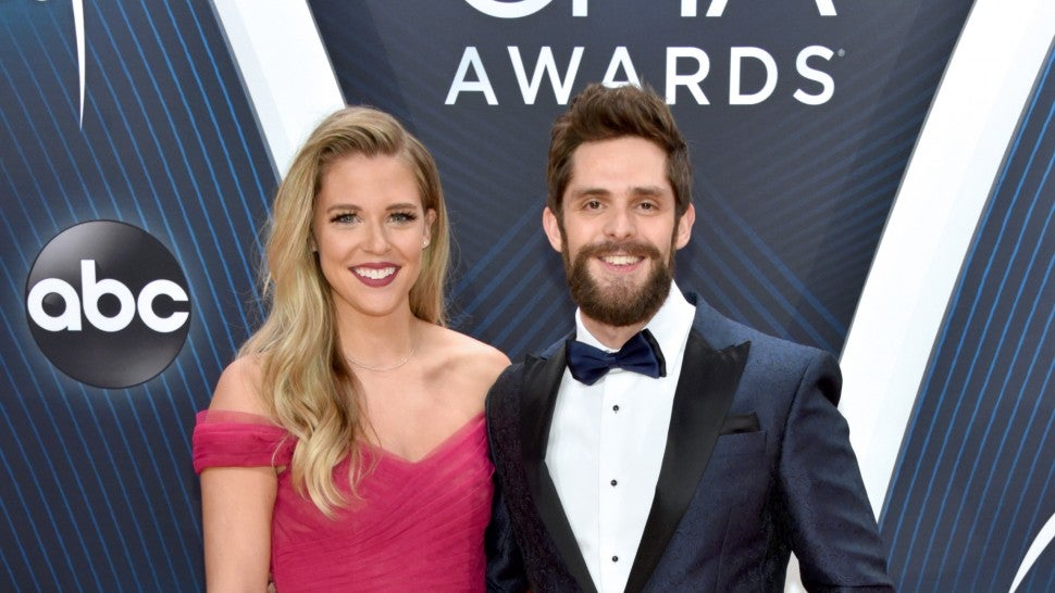 Lauren Akins and Thomas Rhett at cma awards