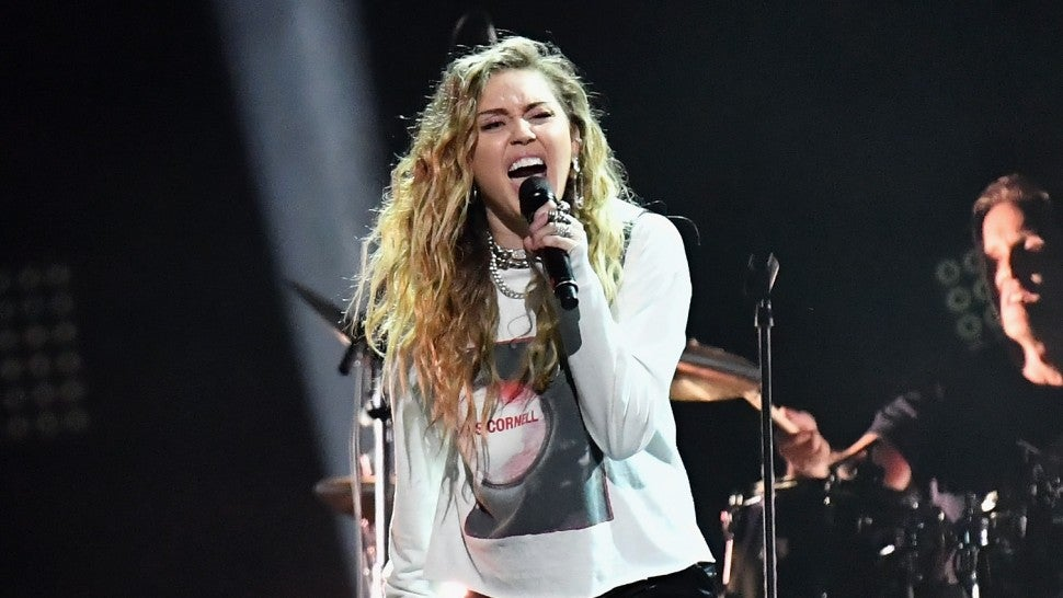 Miley Cyrus at Chris Cornell tribute concert