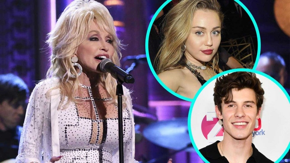 Dolly Parton with Miley Cyrus and Shawn Mendes