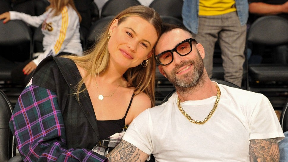 Behati Prinsloo and Adam Levine at Lakers vs Rockets game