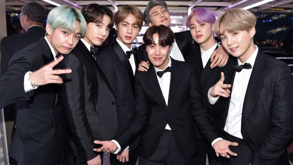 BTS backstage at the 61st Annual GRAMMY Awards