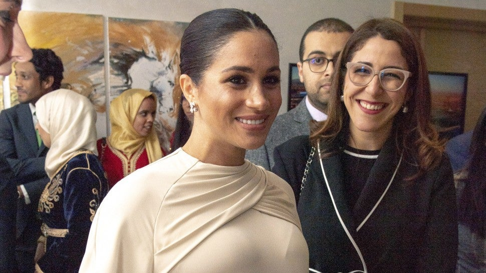 Meghan Duchess of Sussex attends a reception hosted by the British Ambassador to Morocco at the British Residence during the second day of her tour of Morocco