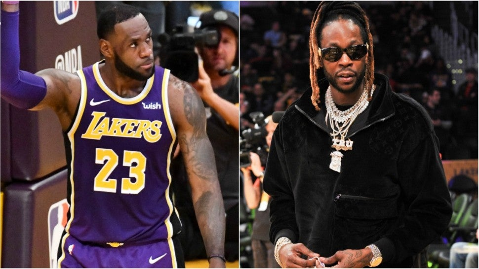 LeBron James 2 Chainz Lakers Nuggets Game