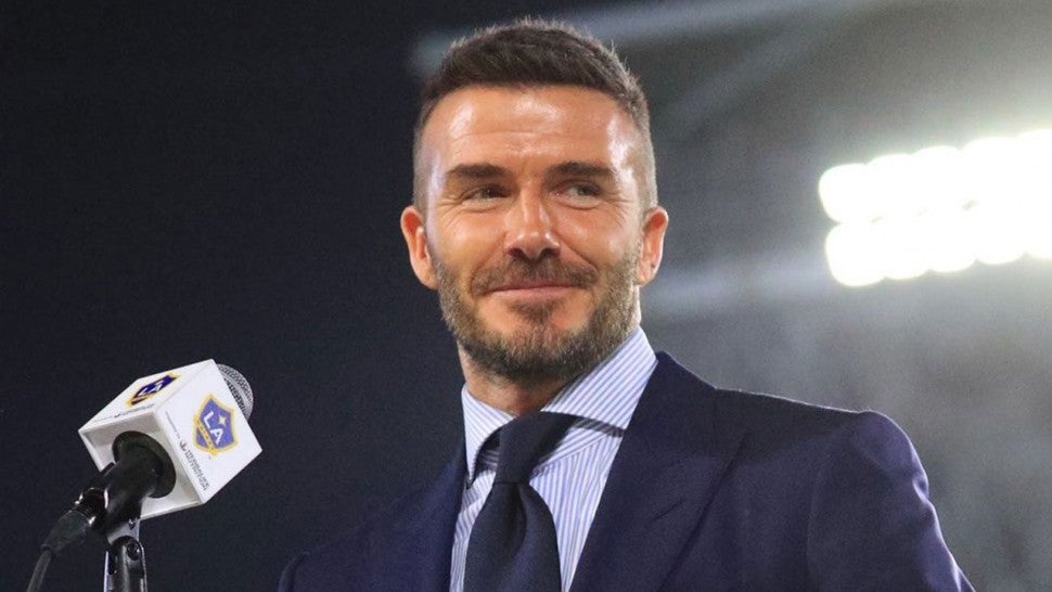 David Beckham at la galaxy ceremony