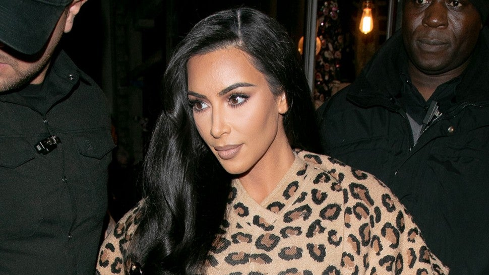 Kim kardashian in cheetah print in paris