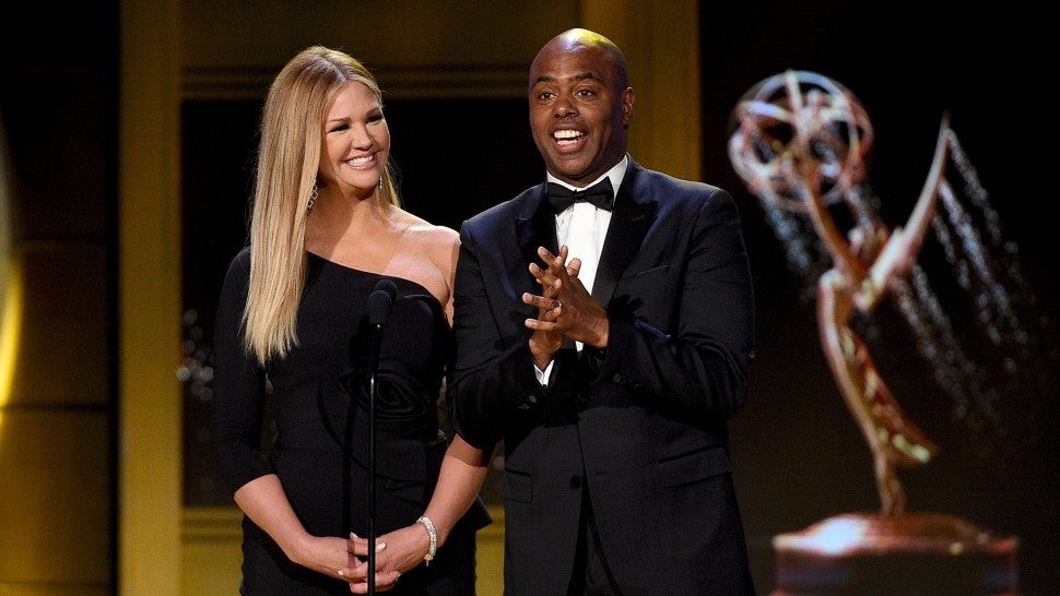 Nancy O'Dell and Kevin Frazier speak onstage during the 45th annual Daytime Emmy Awards at Pasadena Civic Auditorium on April 29, 2018 in Pasadena, California.