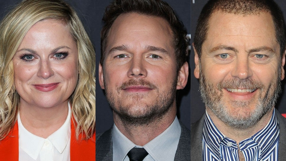 Amy Poehler and Nick Offerman React to Chris Pratt's Post 'Parks and Recreation' Glow-Up (Exclusive)