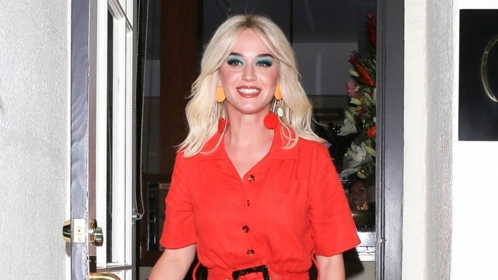 Katy Perry Is '70s Chic in Orange Jumpsuit During Date Night With Orlando Bloom