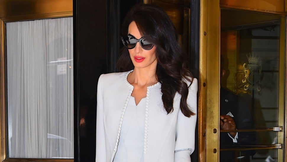 Amal Clooney Is Pure Perfection in Sophisticated White Sheath Dress