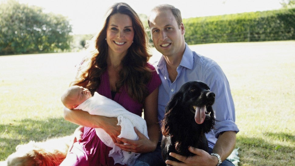 Kate Middleton and Prince William with PRince George and dog Lupo