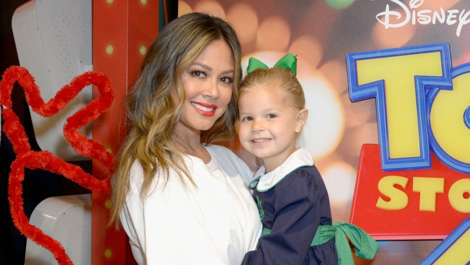 Vanessa Lachey and daughter at toy story 4 takeover
