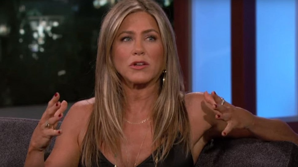 Jennifer Aniston's plane lost a tire and somehow Jimmy Kimmel is involved